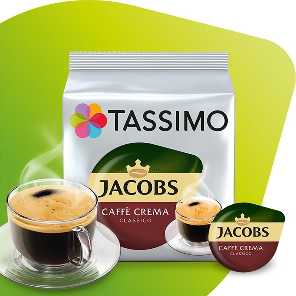 Kapsułki Tassimo Jacobs Caffe Crema Classico ze szklanką i kapsułką