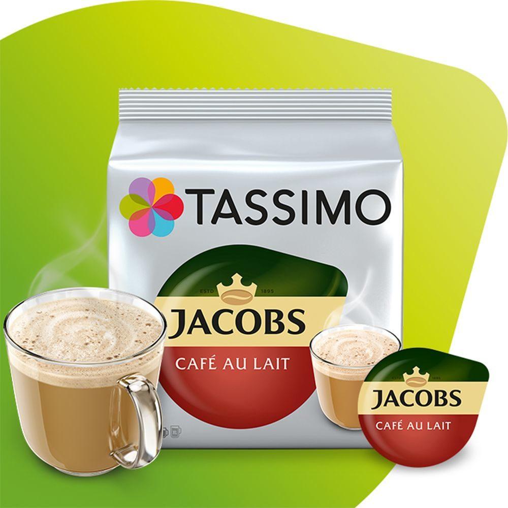 Opakowanie Tassimo cafe au lait z kubkiem kawy i kapsułką
