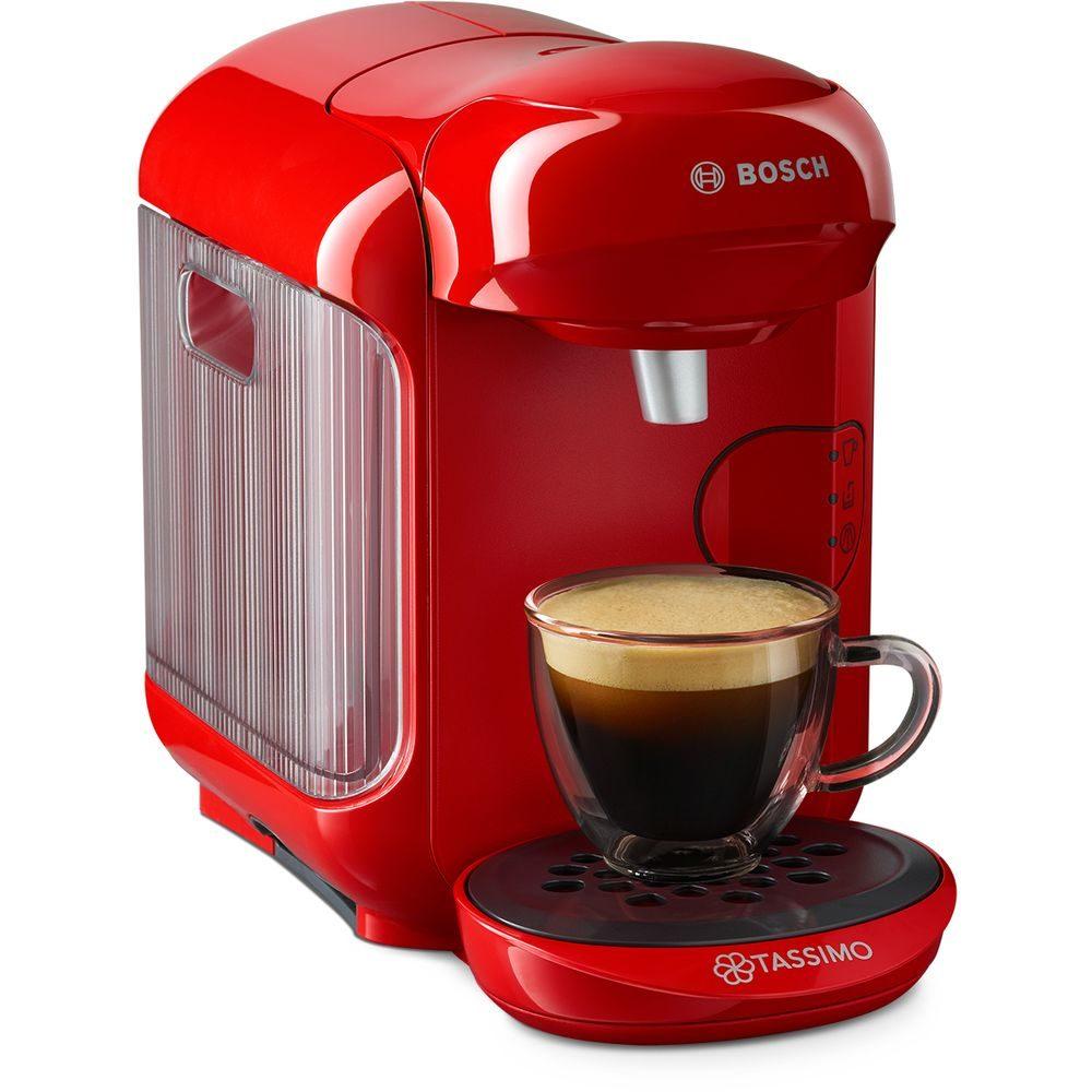Ekspres Tassimo Bosch Vivy2 czerwony z kawą