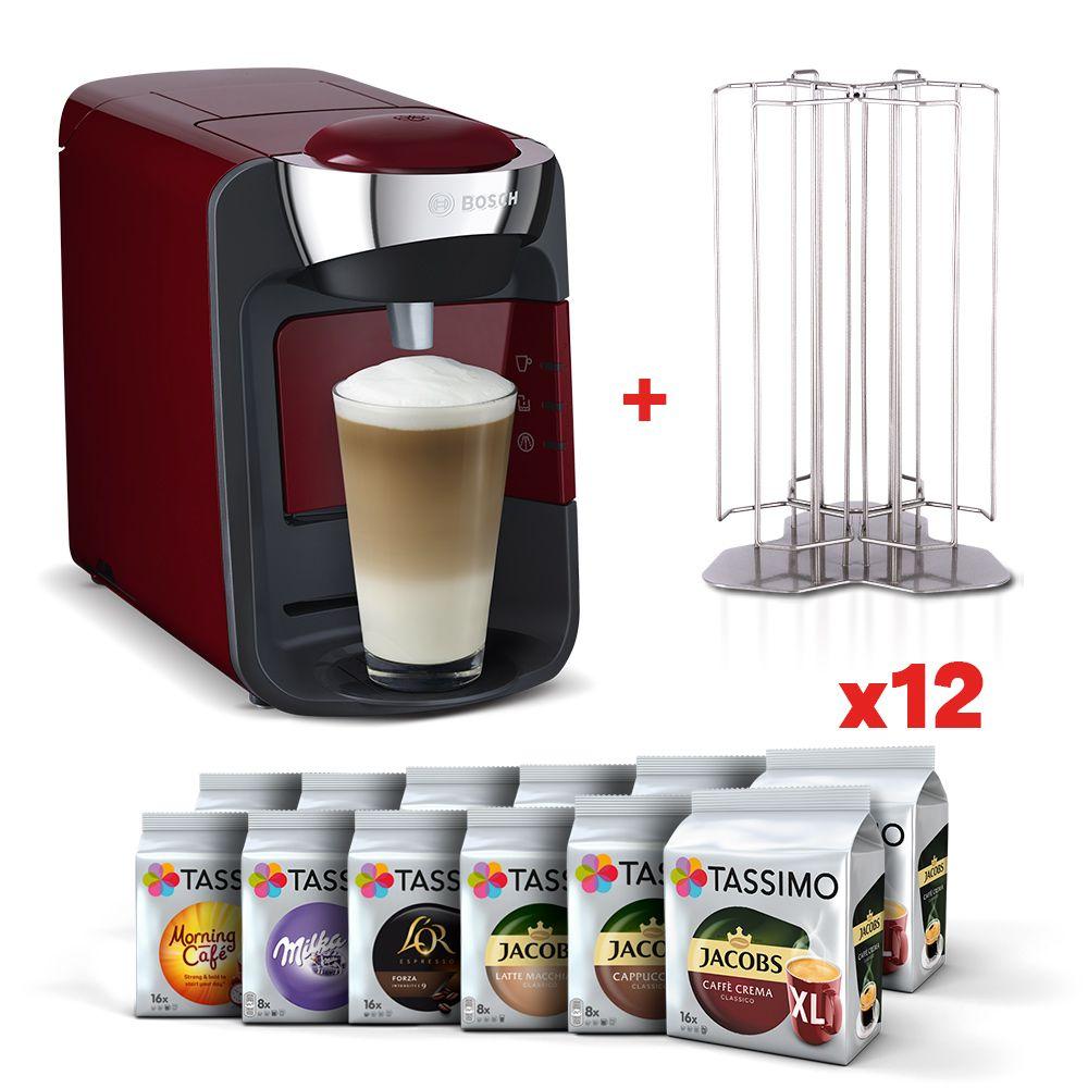 Zestaw Ekspres Tassimo Bosch Suny z 12 paczkami kaw i napojów Tassimo oraz stojakiem