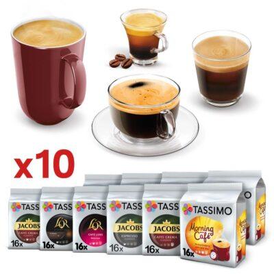 Zestaw 10 opakowań kaw czarnych Tassimo