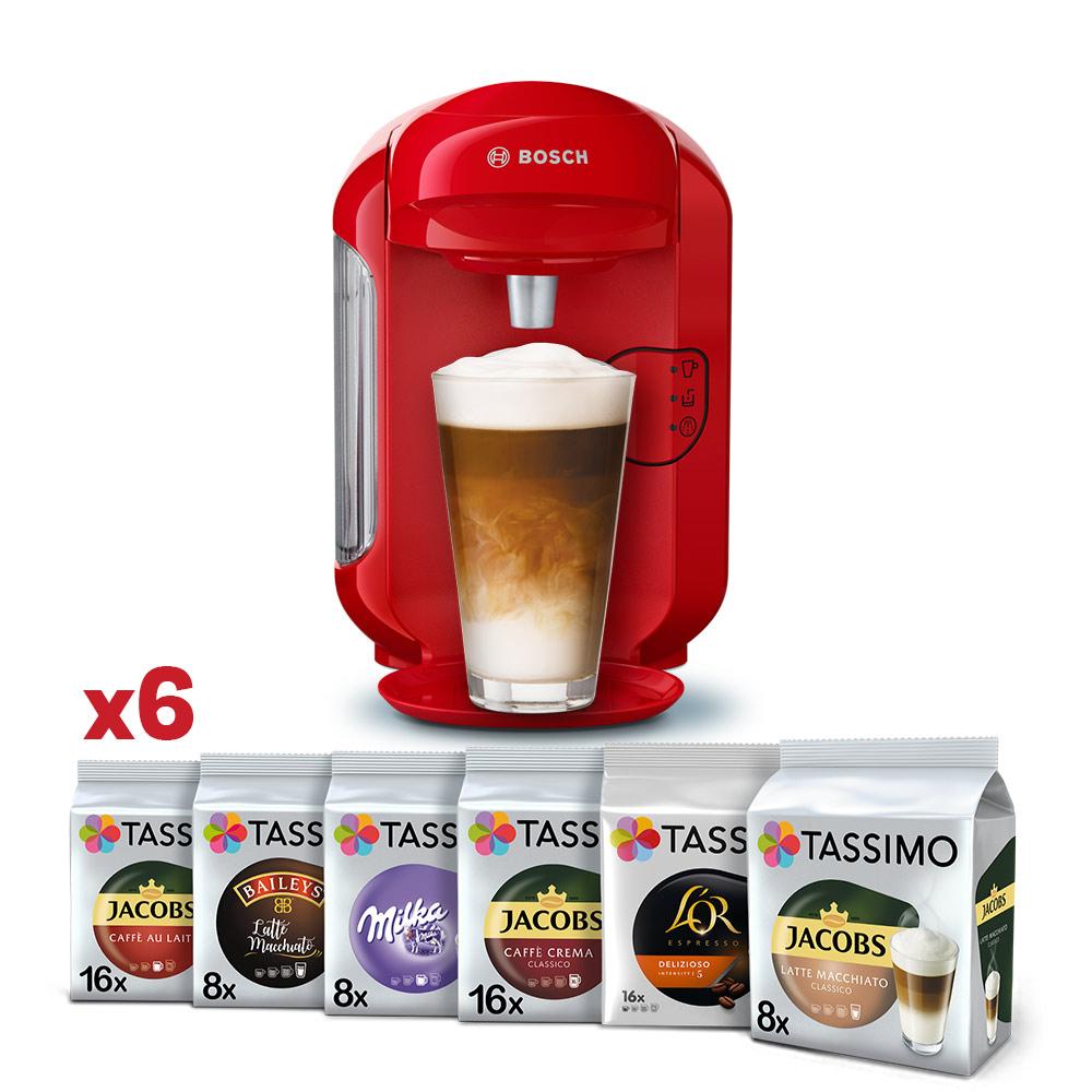 Tassimo Bosch Vivy czerwony + 6 opakowań Tassimo