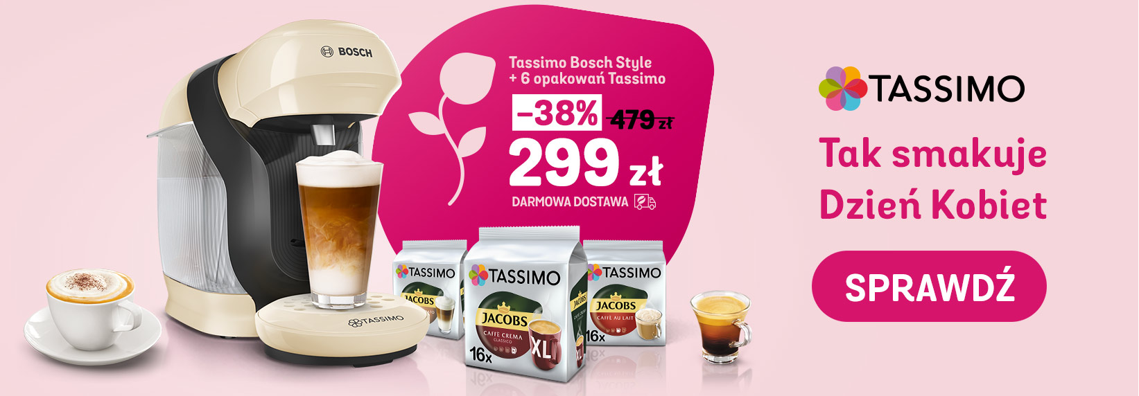Eskpres Tassimo Bosch Style + 6 opakowań kaw i napojów Tassimo